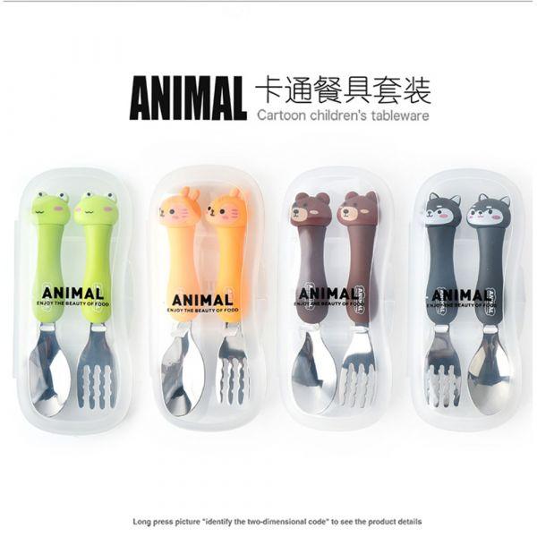 不鏽鋼卡通動物環保餐具兩件組-共六色