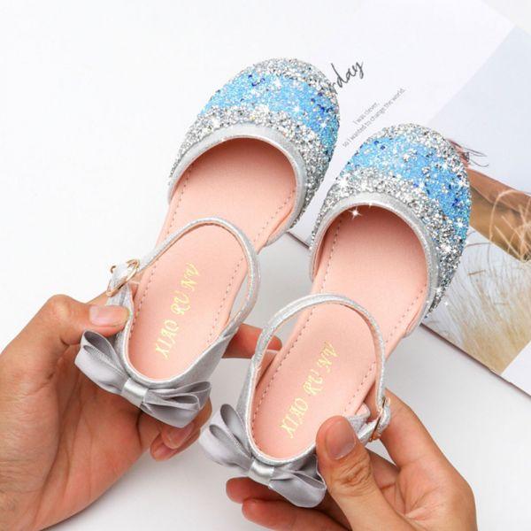 /大童/緞帶蝴蝶結 金蔥包趾涼鞋-藍色