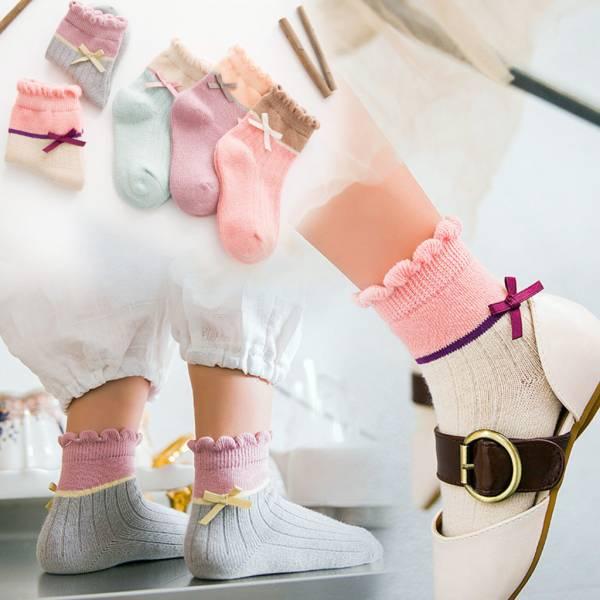 現貨 春夏蝴蝶結拼色造型低筒童襪-一組五色 春夏女童短襪