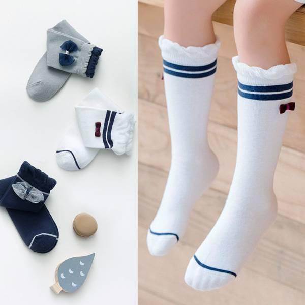 現貨 秋款春款學院風蝴蝶結女童長筒襪-共三色 女童長筒襪