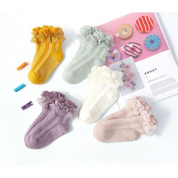 秋冬薄款 蕾絲花邊中筒襪-一組五雙 女童短襪,蕾絲短襪,花邊中筒襪,女童中筒襪