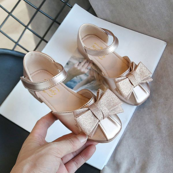 /大童/金蔥蝴蝶結包趾涼鞋-金色