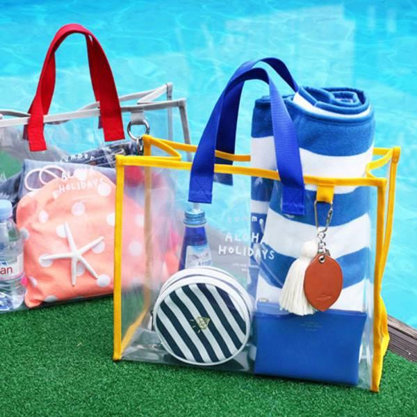 透明防水手提沙灘包 游泳包-共兩色