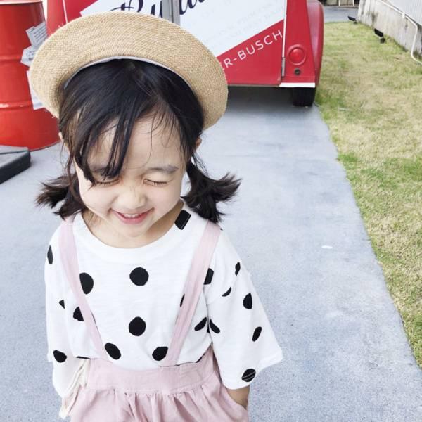 現貨零碼出清 韓版童裝 大圓點七分袖T恤-黑色 現貨零碼出清,韓版童裝,大圓點七分袖T恤
