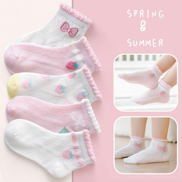 透氣舒適 草莓圖案網眼短襪-一組五雙