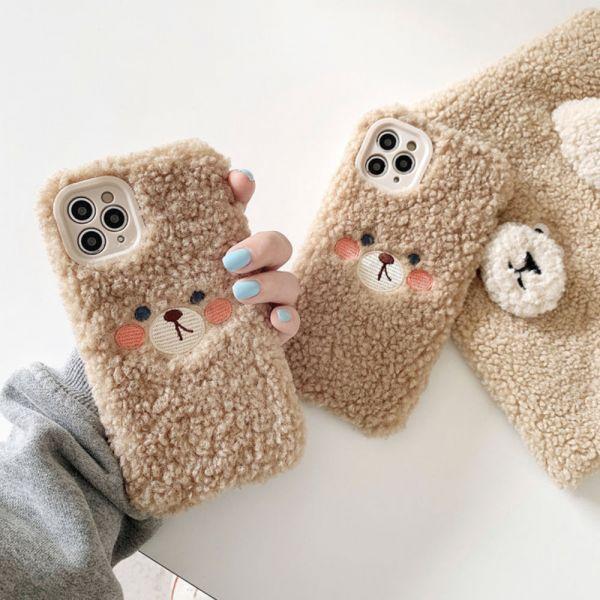 毛絨泰迪熊iphone手機殼-共一色