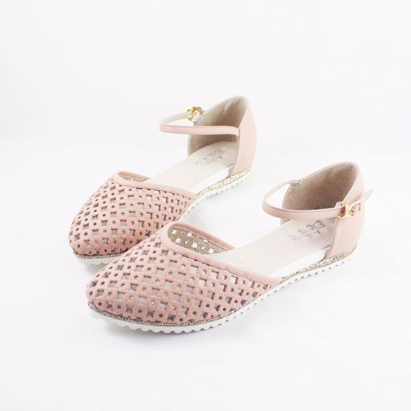 現貨 透氣摟空包趾真皮親子涼鞋-粉色大人 親子涼鞋,台灣製造