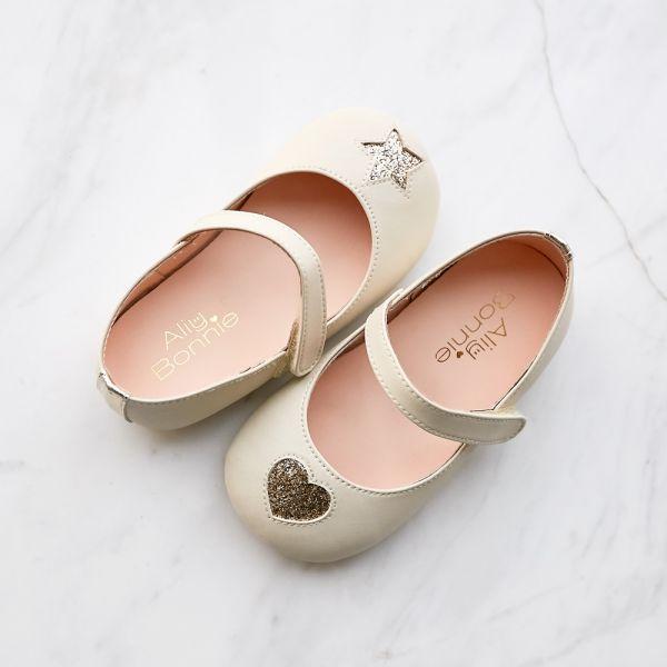 現貨 台灣製不對稱金蔥寳寳鞋娃娃鞋-米白 台灣製,寳寳鞋,娃娃鞋,學步鞋