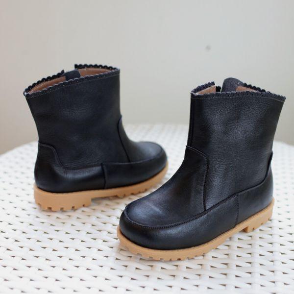 現貨 台灣製花邊女童真皮短靴-黑色 台灣製,真皮短靴,Little Garden,時尚童鞋,女童靴子