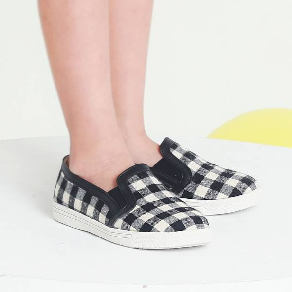 現貨 台灣製親子鞋 格紋布兒童休閒鞋親子鞋-黑色 兒童休閒鞋, 台灣製造, 親子鞋