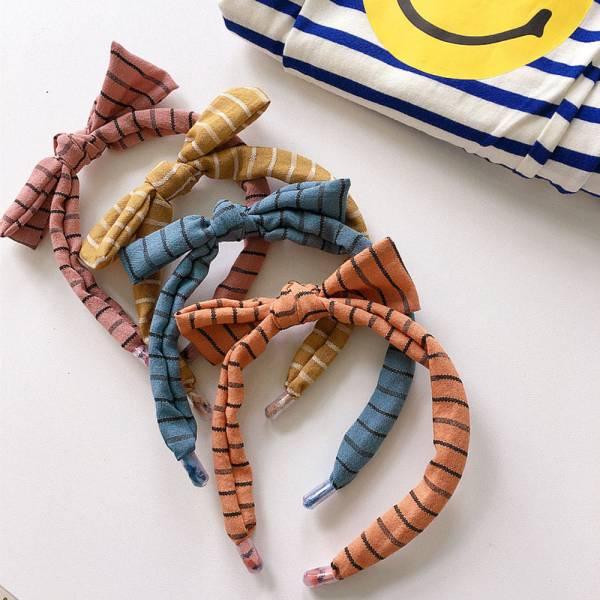 兒童專用 蝴蝶結條紋髮箍-共四色 兒童專用髮箍,蝴蝶結髮箍