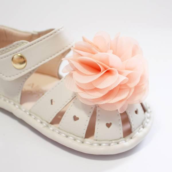 現貨 台灣製夏日花朵寳寳涼鞋-杏仁米 現貨,台灣製,寳寳涼鞋,學步涼鞋