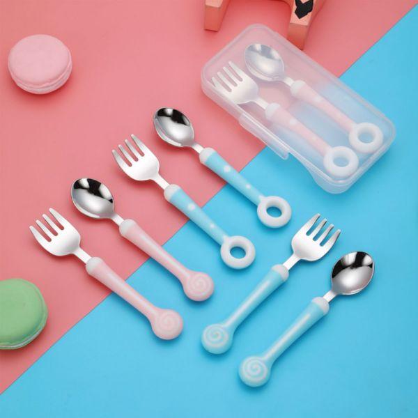 不鏽鋼造型兒童餐具 環保餐具兩件組-共兩色