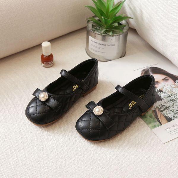 /大童/珍珠菱格紋氣質娃娃鞋-黑色