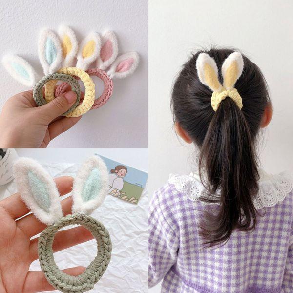 兒童飾品 可愛兔耳朵編織髮圈-共三色 兒童飾品,可愛兔耳朵編織髮圈