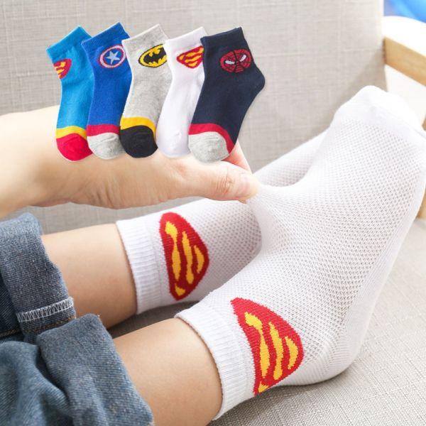 現貨 男童夏季卡通網眼襪-一組五雙