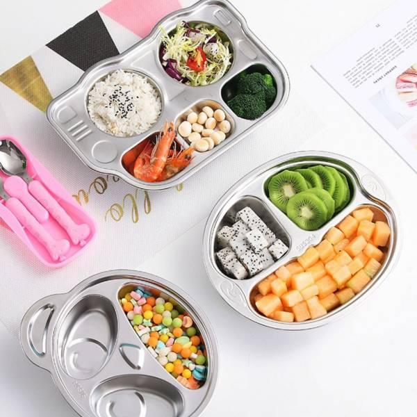 可愛造型 不鏽鋼分格兒童餐盤-共六款