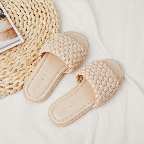 /大童/渡假風女童編織拖涼鞋-米色