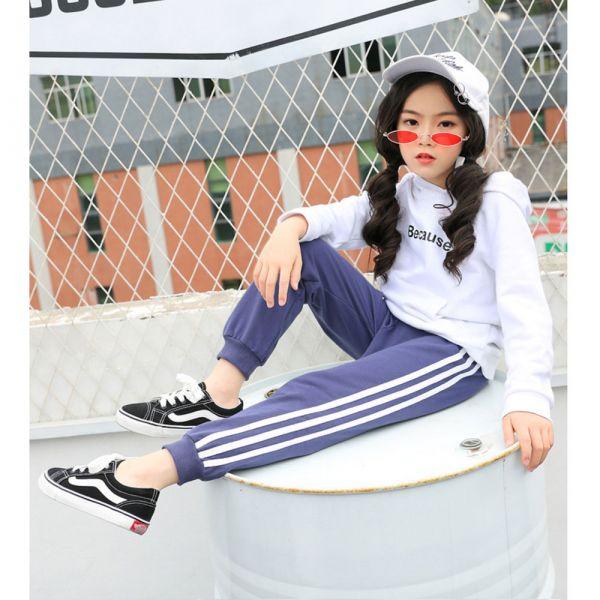現貨 薄款中性運動風條紋休閒棉褲-藍色 薄款中性運動褲,運動風,休閒棉褲