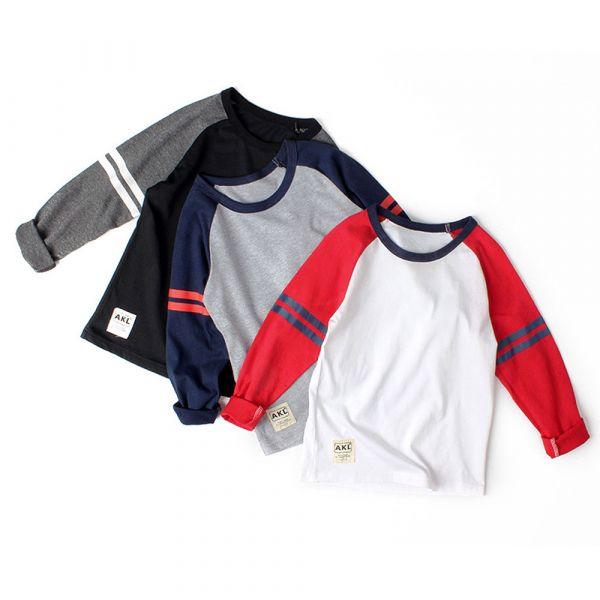 現貨/大童/薄款 運動風長袖上衣-共三色 兒童長袖T恤,男童長袖T恤,兒童T恤
