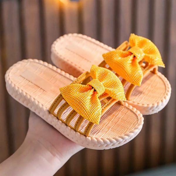 /大童/蝴蝶結防水拖涼鞋-黃色