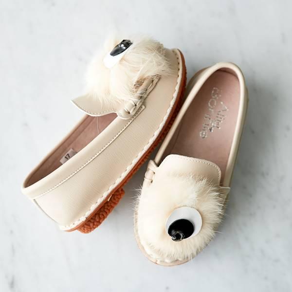 現貨親子鞋 毛毛眼球女童娃娃鞋-米色 女童娃娃鞋,台灣製造,親子鞋