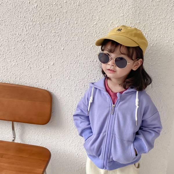 現貨 毛圈純色兒童休閒連帽外套-紫色 兒童休閒連帽外套,兒童連帽外套,兒童外套,連帽外套
