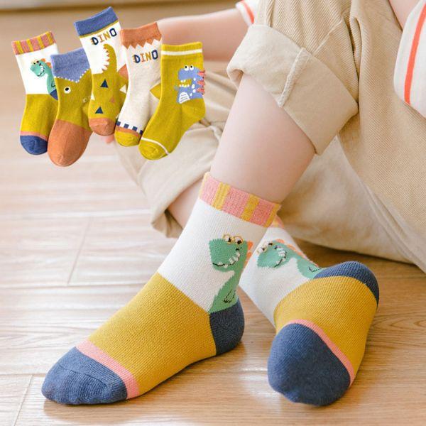 /秋款/恐龍男童短襪-一組五雙