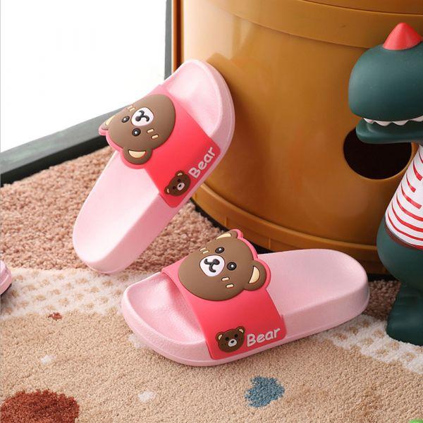 男孩女孩 可愛小熊防滑防水拖鞋-粉色