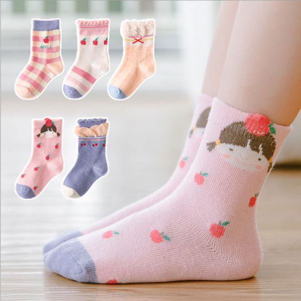 /秋款/小女孩&蘋果短襪-一組五雙