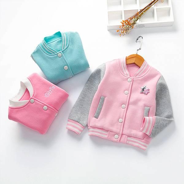 現貨 加絨加厚棒球外套 保暖兒童外套-粉色 韓版童裝,兒童棒球外套,女童加絨加厚外套
