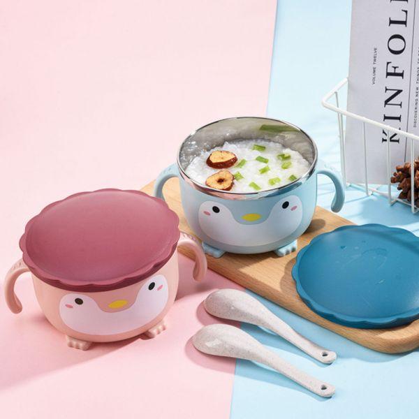 企鵝造型不鏽鋼隔熱碗泡麵碗-共三色