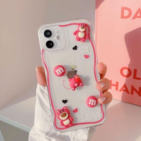 可愛粉紅小熊iphone手機殼-共一色