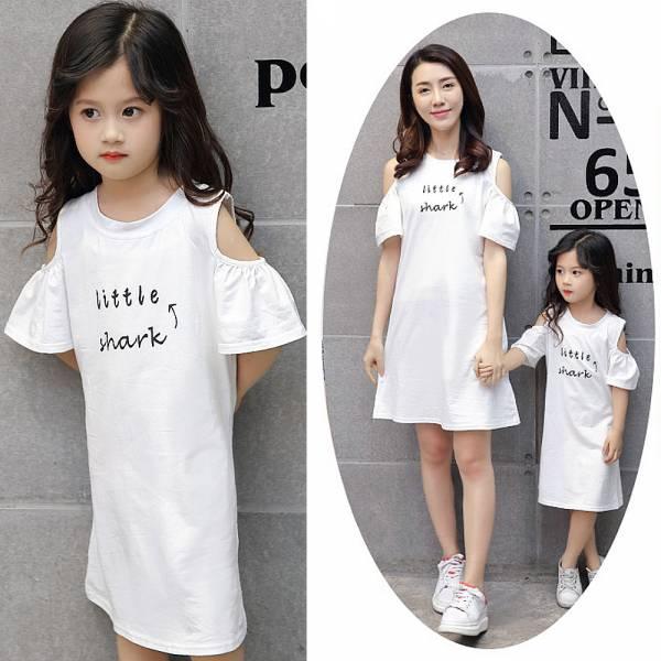 親子裝 鯊魚印花長版上衣 洋裝-白色 現貨,親子裝,印花長版上衣,親子洋裝