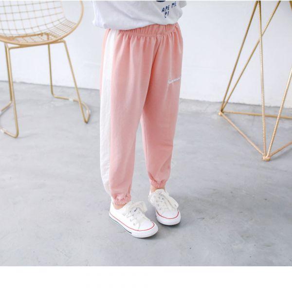 現貨薄款 運動風休閒空調褲 防蚊褲-粉色