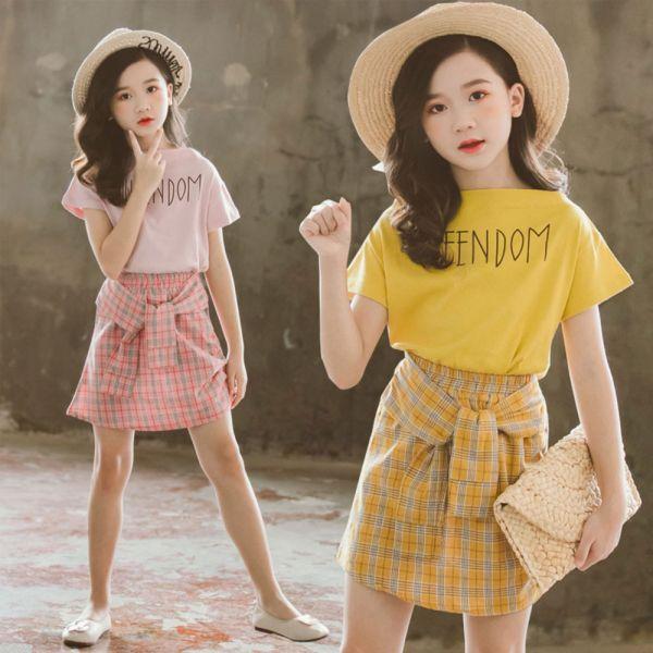 /大童/學院風 短版上衣格紋裙套裝-共兩色