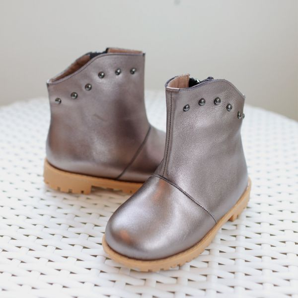 現貨 台灣製搖滾女童真皮短靴-錫銀色 台灣製,真皮短靴,Little Garden,時尚童鞋,女童靴子