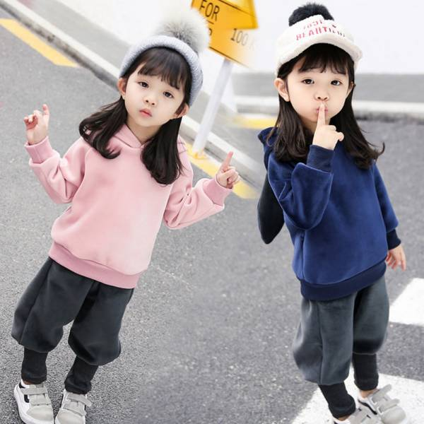 現貨 兔耳朵加絨連帽套裝 保暖兒童冬裝-共兩色 韓版童裝,兔耳朵加絨套裝,加絨套裝,兔耳朵套裝,造型上衣,秋冬加絨上衣