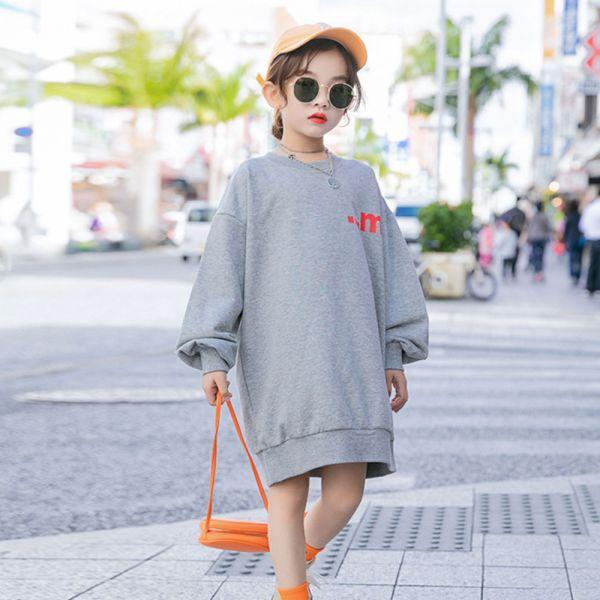 /大童/運動風長版上衣 親子裝-灰色 女童長版上衣,兒童長版上衣,親子長版上衣,秋冬親子裝