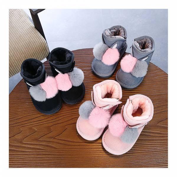 現貨 立體毛球超萌保暖女童雪靴-共兩色 推薦童鞋,親子鞋,兒童雪靴,保暖雪靴,兒童短靴,韓版童鞋