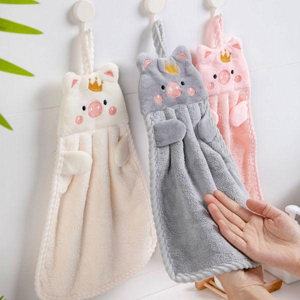 珊瑚絨小豬造型擦手巾-共四色
