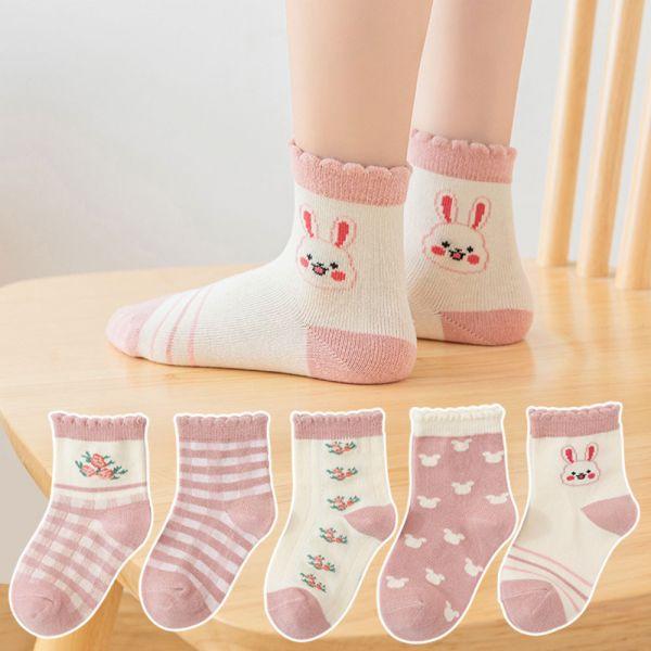 /秋款/小兔子中筒襪-一組五雙