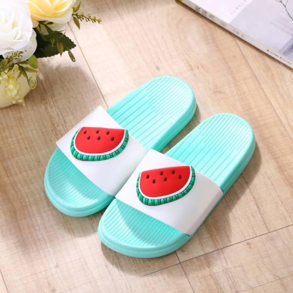 水果圖案 親子浴室防滑拖鞋-綠色 水果拖鞋,親子拖鞋,兒童浴室防滑拖鞋