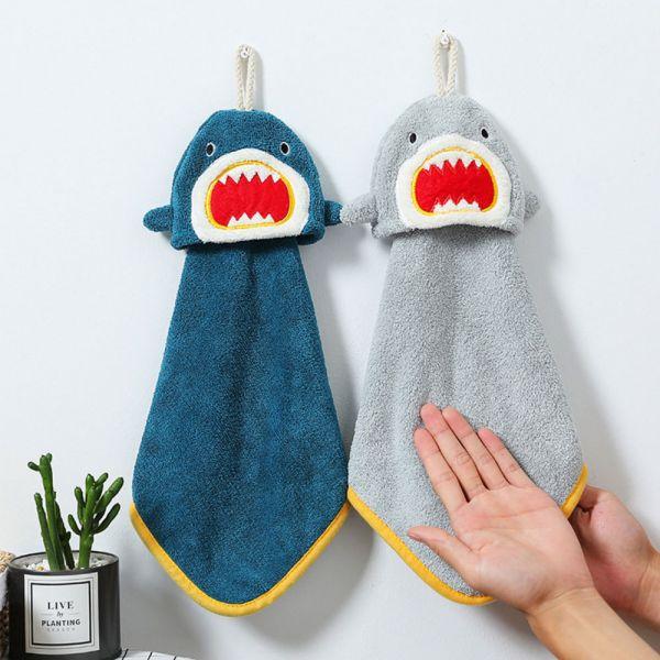 珊瑚絨鯊魚造型吸水擦手巾-共三色
