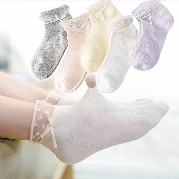 女童薄款點點蕾絲透氣短襪-一組五雙 女童薄款短襪,女童透氣短襪,蕾絲短襪