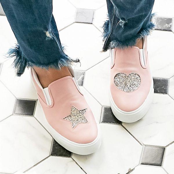 現貨 台灣製親子鞋 不對稱金蔥休閒鞋-粉色大人 台灣製親子鞋,兒童休閒鞋