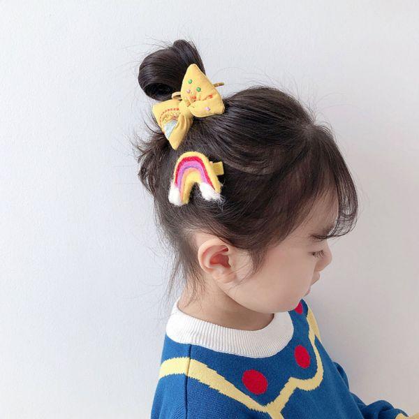 兒童飾品 彩虹蝴蝶結髮夾髮圈組-共四色 兒童飾品,彩虹蝴蝶結髮夾髮圈