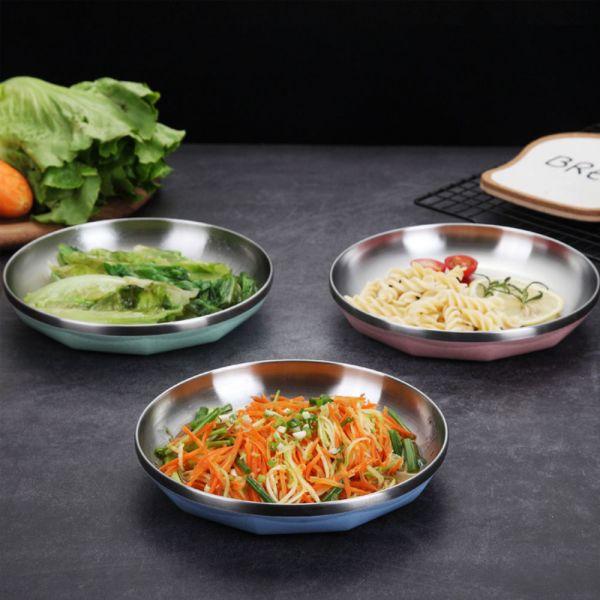 廚房好物304不鏽鋼輕量隔熱餐盤-共三色