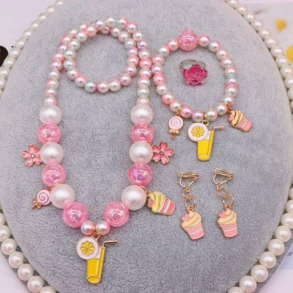 兒童飾品 珍珠項鍊套裝五件組-共五款