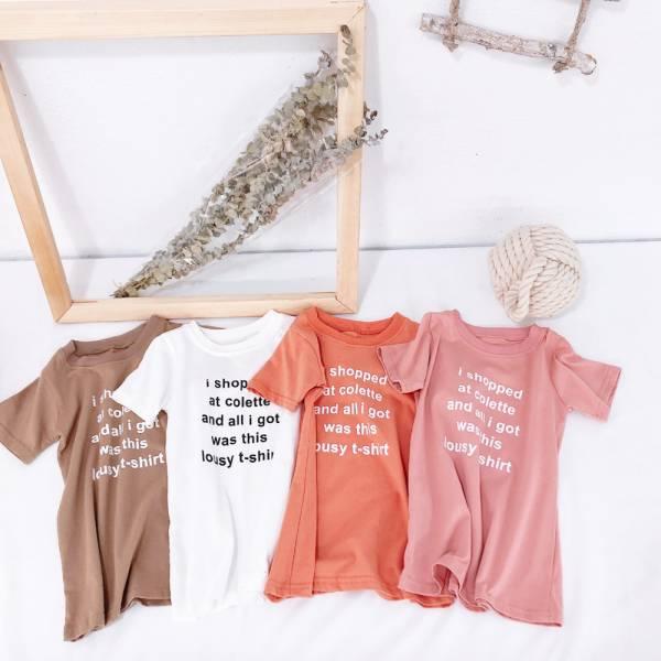 現貨 字母印花 女童短袖長版上衣-共四色 印花長版上衣,女童短袖,長版上衣